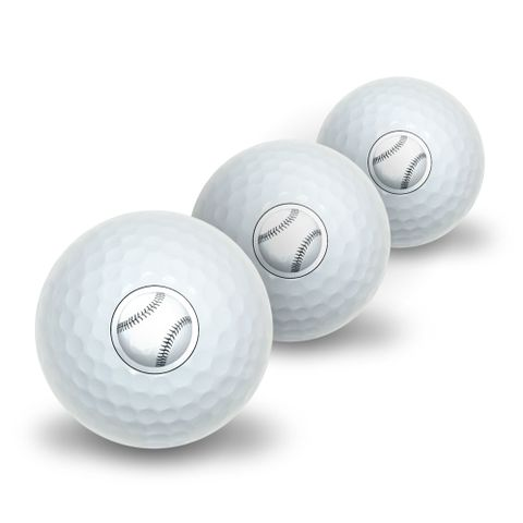 Baseball Ball Novelty Golf Balls 3 Pack