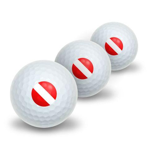 Scuba Diver Flag - Diving Novelty Golf Balls 3 Pack
