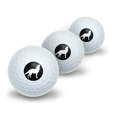 Wolf Howling Novelty Golf Balls 3 Pack