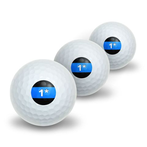 Thin Blue Line 1 One Asterisk - Police Policemen Novelty Golf Balls 3 Pack