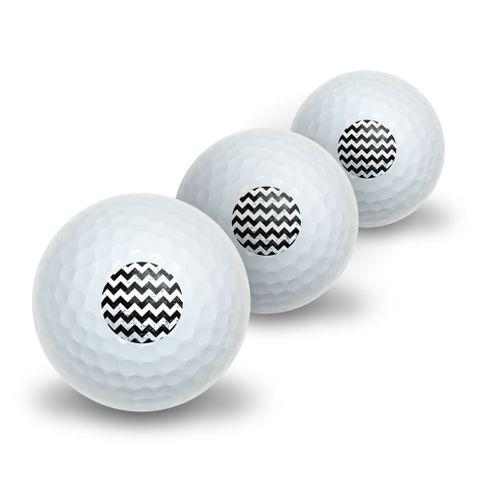 Vintage Chevrons Black Novelty Golf Balls 3 Pack