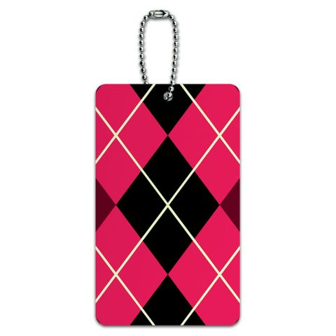 Argyle Hipster Pink - Preppy ID Card Luggage Tag