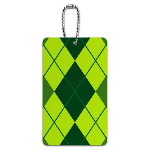 Argyle Hipster Green - Preppy ID Card Luggage Tag