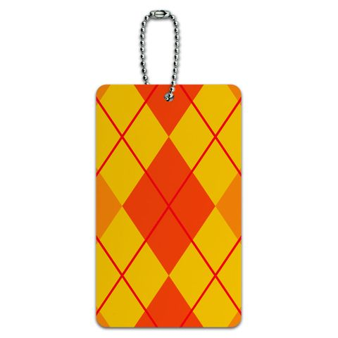 Argyle Hipster Orange - Preppy ID Card Luggage Tag