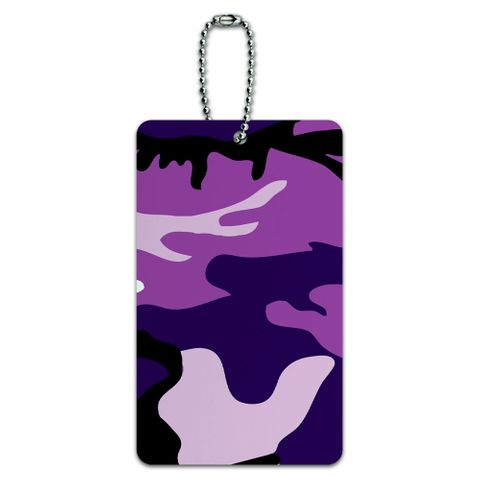 Purple Camouflage Army Soldier ID Card Luggage Tag