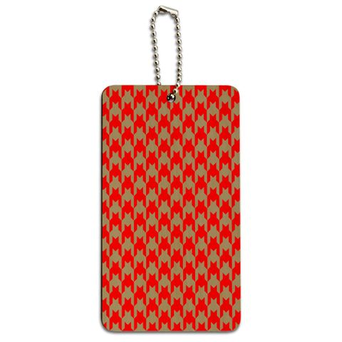 Preppy Houndstooth Red Gray Wood ID Card Luggage Tag