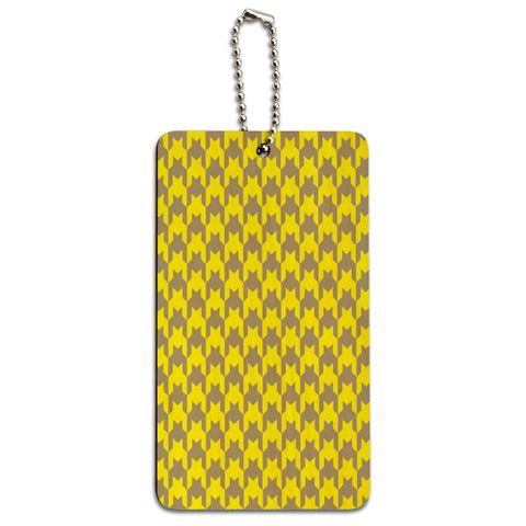 Preppy Houndstooth Yellow Gray Wood ID Card Luggage Tag