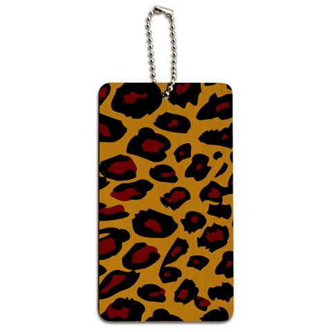 Leopard Animal Print Wood ID Card Luggage Tag