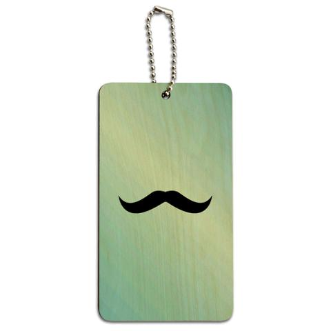 Mustache Funny Blue Wood ID Card Luggage Tag