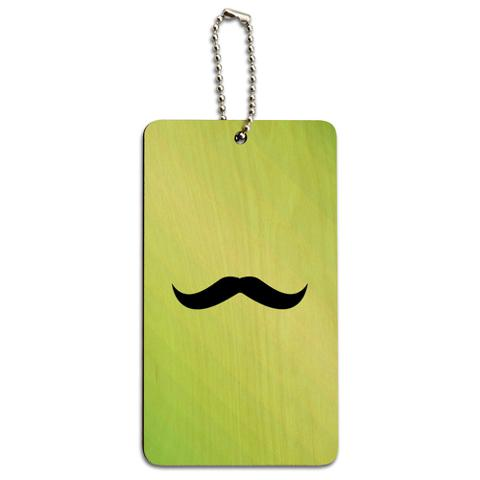 Mustache Funny Green Wood ID Card Luggage Tag