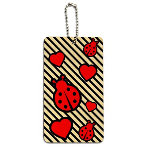 Ladybug Love Wood ID Card Luggage Tag