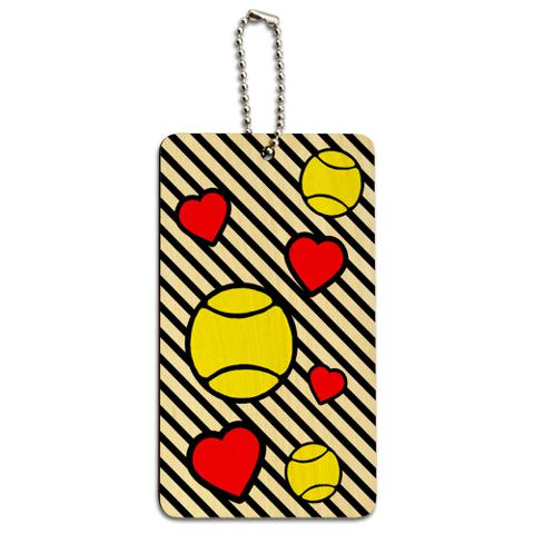 Tennis Love Wood ID Card Luggage Tag