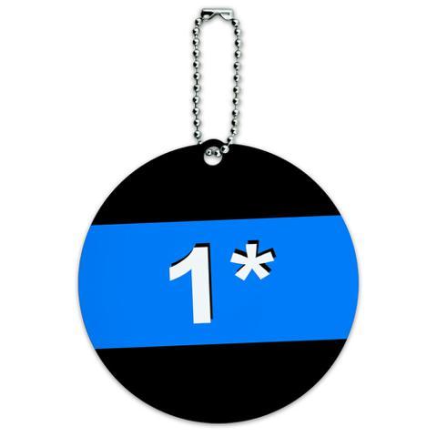 Thin Blue Line 1 One Asterisk Police Policemen Round ID Card Luggage Tag
