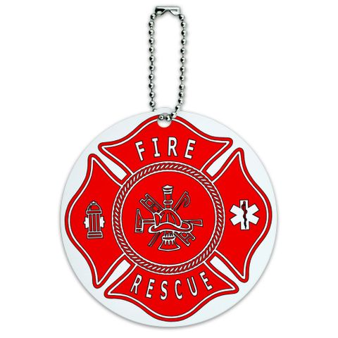 Fire and Rescue Maltese Cross Red Round ID Card Luggage Tag