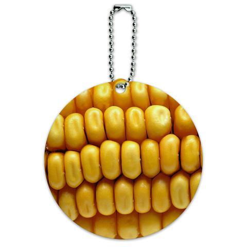Corn on the Cob Kernels Round ID Card Luggage Tag