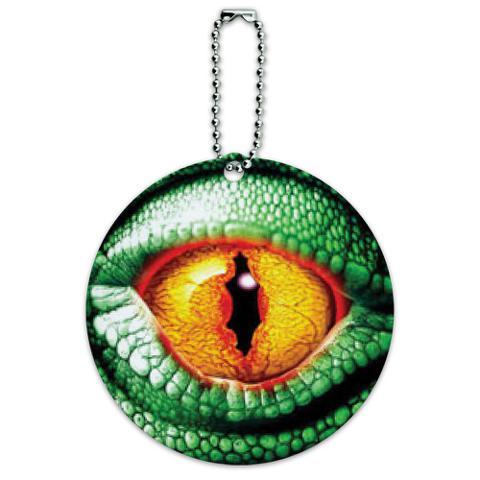 Lizard Yellow Eye Green Scales Round ID Card Luggage Tag