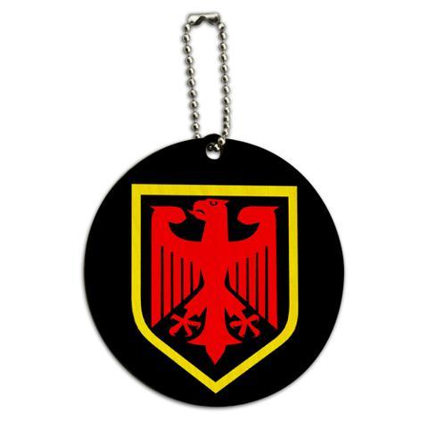 German Crest Germany Round Wood ID Card Luggage Tag