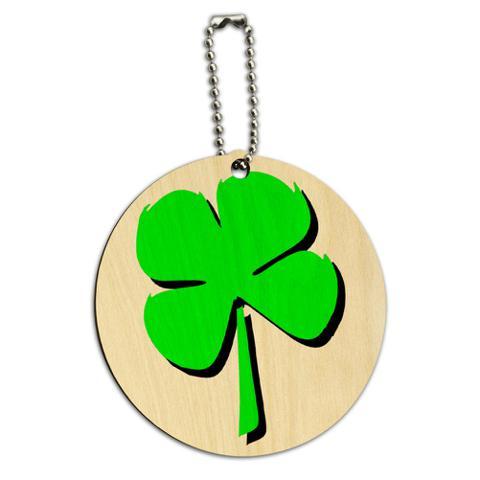 Four Leaf Clover Irish Round Wood ID Card Luggage Tag