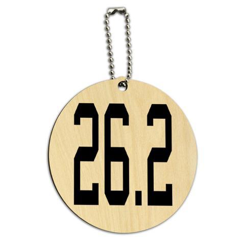26.2 Marathon Running Jogging Round Wood ID Card Luggage Tag