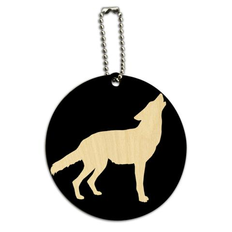Wolf Howling Round Wood ID Card Luggage Tag