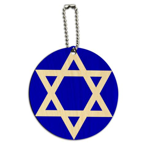 Star of David Shield Jewish Round Wood ID Card Luggage Tag