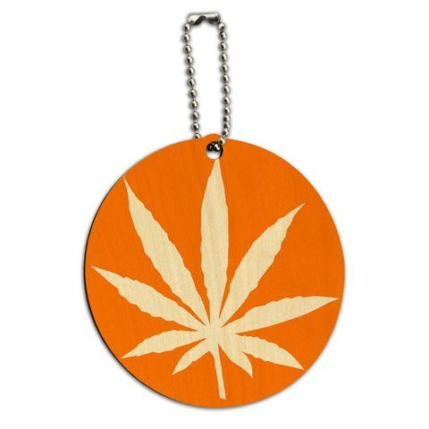 Marijuana Leaf Orange Round Wood ID Card Luggage Tag