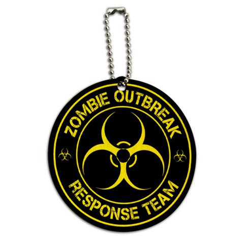 Zombie Outbreak Response Team Yellow Round Wood ID Card Luggage Tag