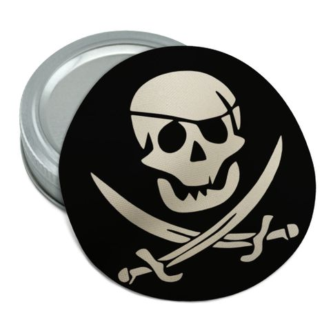 Pirate Skull Crossed Swords Jolly Roger Round Rubber Non-Slip Jar Gripper Lid Opener