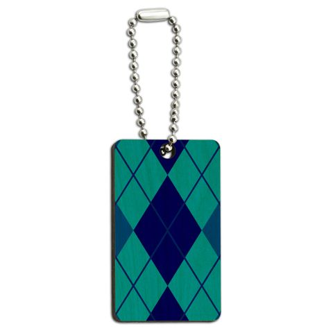 Argyle Hipster Blue - Preppy Wood Rectangle Key Chain