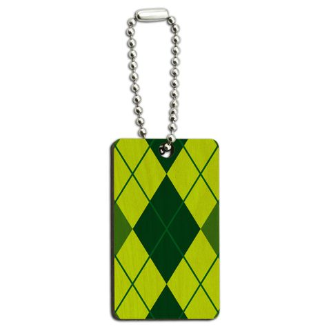 Argyle Hipster Green - Preppy Wood Rectangle Key Chain