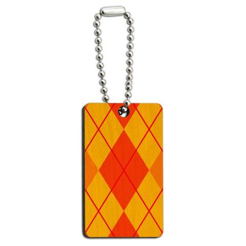 Argyle Hipster Orange - Preppy Wood Rectangle Key Chain