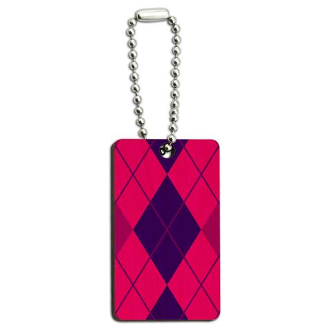 Argyle Hipster Purple Fuchsia - Preppy Wood Rectangle Key Chain