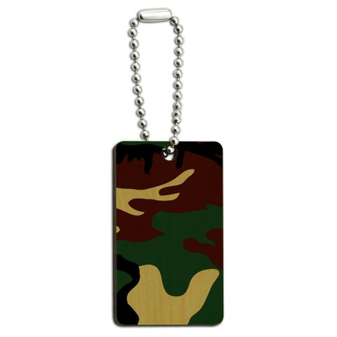 Camouflage Army Soldier Wood Rectangle Key Chain