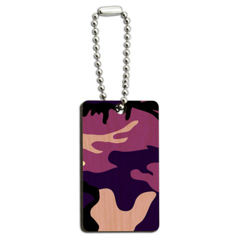 Purple Camouflage Army Soldier Wood Rectangle Key Chain