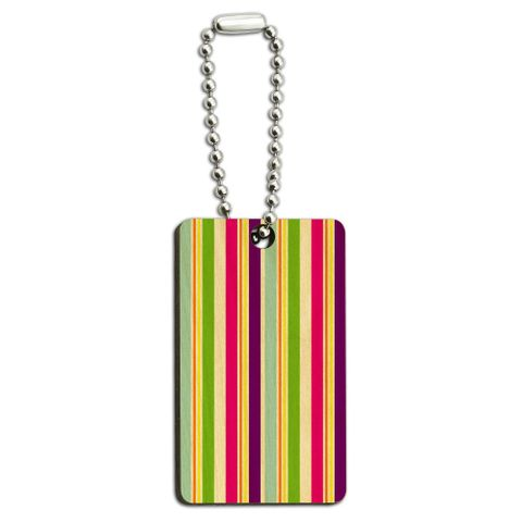 Yuppy Colorful Stripes Wood Rectangle Key Chain