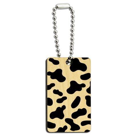 Cow Print Black White Wood Rectangle Key Chain