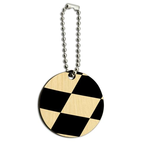 Checkered Flag Racing Wood Round Key Chain