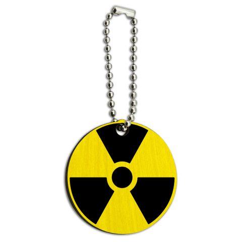 Radioactive Nuclear Warning Symbol Wood Round Key Chain