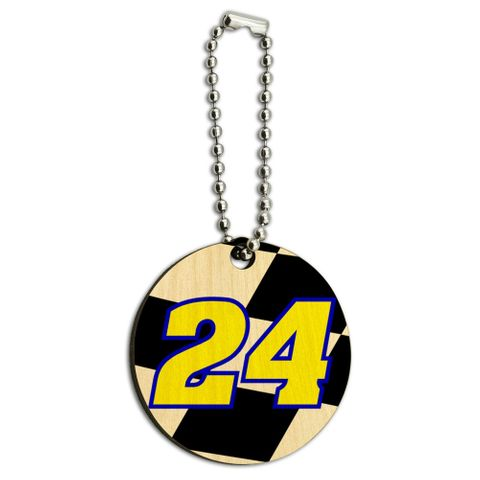 Number 24 Checkered Flag Racing Wood Round Key Chain