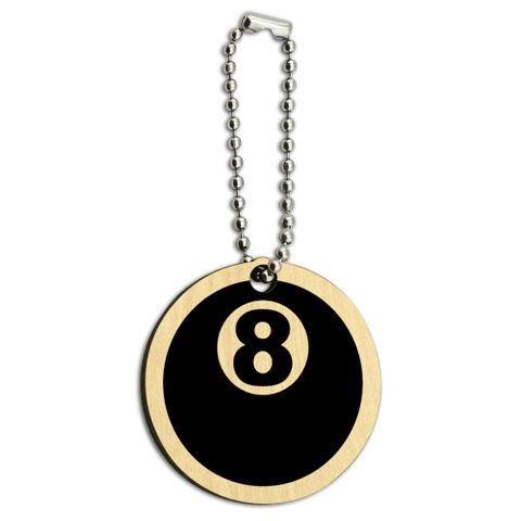Eight Ball Pool Billiards Wood Round Key Chain