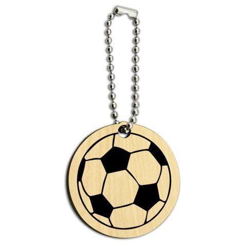Cartoon Soccer Ball Football Wood Round Key Chain