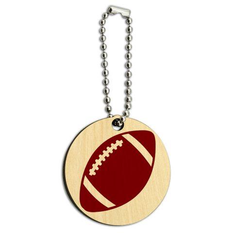 Football Ball Wood Round Key Chain