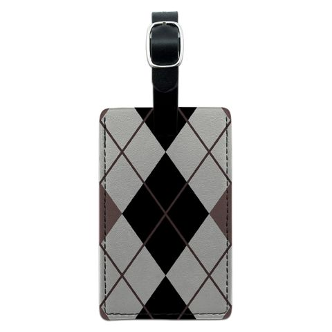 Argyle Hipster Black White - Preppy Rectangle Leather Luggage ID Tag