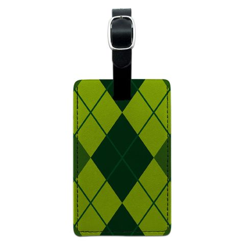 Argyle Hipster Green - Preppy Rectangle Leather Luggage ID Tag