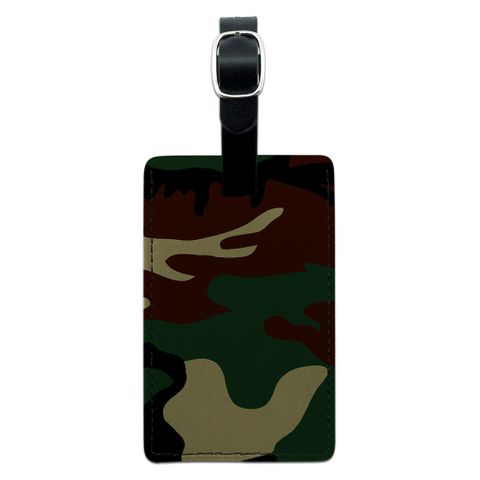 Camouflage Army Soldier Rectangle Leather Luggage ID Tag