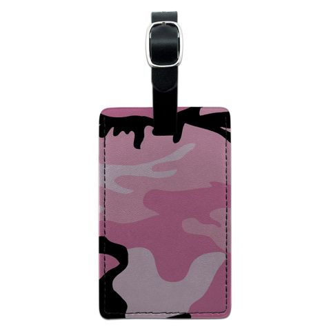 Pink Camouflage Army Soldier Rectangle Leather Luggage ID Tag