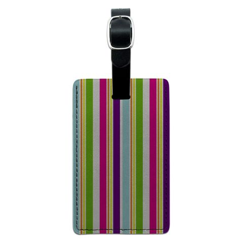 Yuppy Colorful Stripes Rectangle Leather Luggage ID Tag