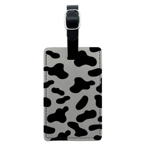 Cow Print Black White Rectangle Leather Luggage ID Tag