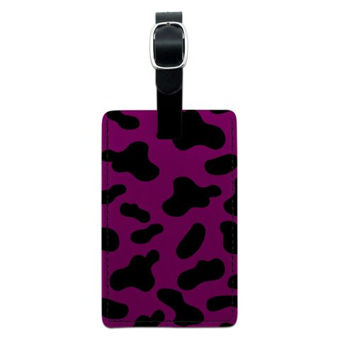 Cow Print Fuchsia Rectangle Leather Luggage ID Tag