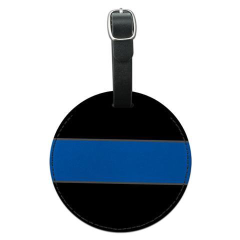 Thin Blue Line Round Leather Luggage ID Bag Tag